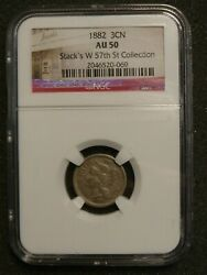 1882 Nickel Three Cent Piece Coin Ngc Au50 Stackand039s W 57th St Collection Rare