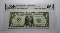 1 2017 Repeater Serial Number Federal Reserve Currency Bank Note Bill Pmg Unc66