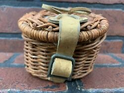 Vintage Fishing Creel Basket Wicker Leather Mini With Lures
