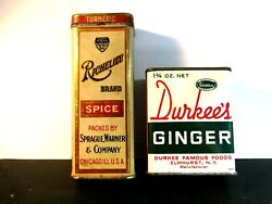 2 Old Spice Tins Richelieu Turmeric And Durkee's Ginger Extra Nice Pair