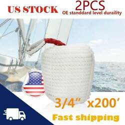 3/4x200' 2 Pack Twisted Three Strand Anchor Mooring Rope Boat Dock Line Thimble