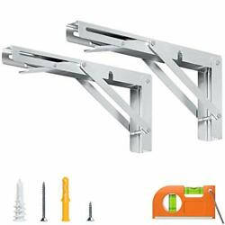 Sturdy Folding Shelf Bracket 10 Inch, Stainless Steel Collapsible 10 In
