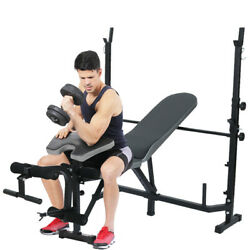 Home Gym Fitness Adjustable Incline Weight Bench Press With Leg Curl Extension U