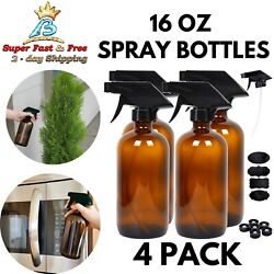 Spray Bottles Empty Amber Glass For Essential Oil Cleaning Solutions 16 Oz 4 Pcs