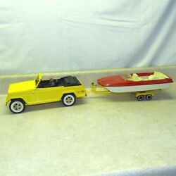 Vintage Tonka Yellow Jeepster, Runabout Boat, Trailer, Truck, Pressed Steel