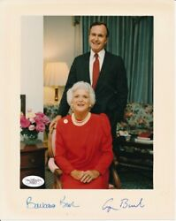 George H.w. And Barbara Bush Autographed/signed 8x10 Color Photo Jsa 142066