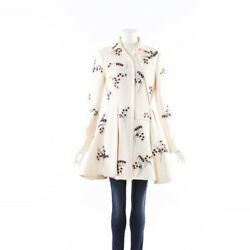 Christian Dior Cream Beaded Embroidered Wool Swing Coat Sz 40