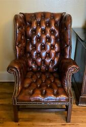 Vtg Hickory Chair Mahogany Leather Office Guest Wingback Club Arm Chair -we Ship