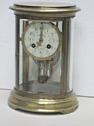 Antique Spaulding Chicago French Marti Clock Oval Crystal Regulator 8day Working