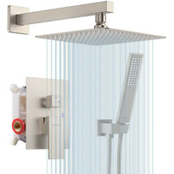 Shower Faucet Combo Set Wall Mount Rainfall Shower Head System With Mixer Valve