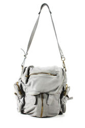 Alexander Wang Womens Leather Soft Solid Convertible Satchel Backpack Gray $199.99