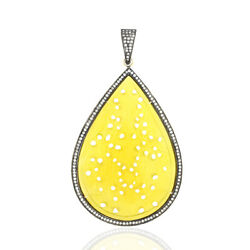 Pear Shape 18k Gold Yellow Carved Agate Necklace Pendant Silver Diamond Jewelry