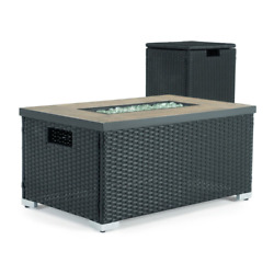 Patio Fire Pit Dining Coffee Table Rectangular Outdoor Entertainment Furniture