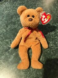 Rare Retired Ty Beanie Baby 'curly' The Bear With Many Errors Mint