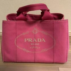 PRADA Canapa BN1877 Logo Plate Hand Bag Tote Bag Canvas Pink Auth From JAPAN $297.00