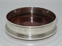 Attractive Sterling Silver Wooden Based 5 Bottle Coaster - Broadway And Co - 1983