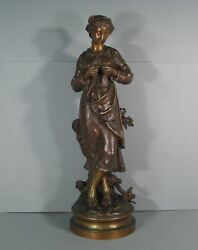 Charles Anfrie Young Femme Au Knit Large Sculpture Bronze Antique Signed Anfrie