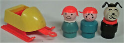 Rare 1970's Fisher Price 705 Snowmobile Accessories Trailer Lucky Boy Girl