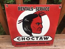 Vintage Choctaw Machinery Porcelain Sign 11.5andrdquox 11.5andrdquo Gas Oil Gas Station Sign