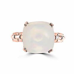 Birthstone Rose Gold Plated Silver Cushion Opal Solitaire Cocktail Ring Size 10