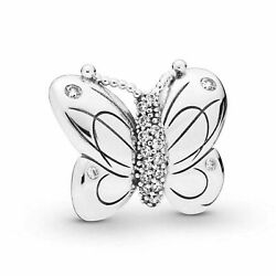 Authentic Pandora S925 Ale Butterfly W/crystals Pendant Charm 797880