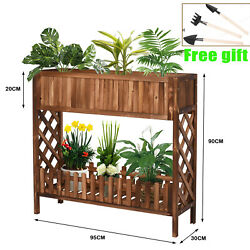 Garden Raised Bed 37x35x12 Inch Outdoor Planter Box 2 Tier For Vegetable Plant