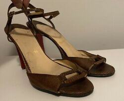 Christian Louboutin Womenandrsquos Brown Lizard Embossed Leather Heels Shoes 40.5 9.5