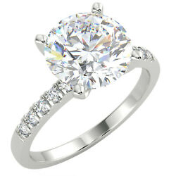 2.15 Ct Round Cut Si1/d Solitaire Pave Diamond Engagement Ring 14k White Gold