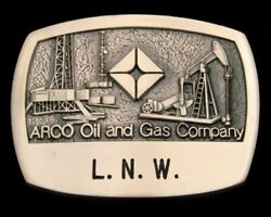 Pk10131 Nos 1981 Arco Oil And Gas Company Allen Solid Brass Oilfield Buckle