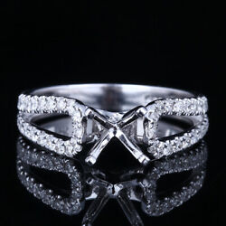 Sterling Silver 6-6.5mm Round Semi Mount Wedding Real Diamonds Gift Ring Setting
