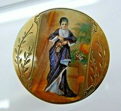 Chester England C.1726 Sterling Silver Enamel Hand Painted Woman Brooch Pin