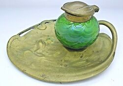 Loetz Art Nouveau Art Glass And Bronze Water Lilly Inkwell And Tray Rare Entourage1