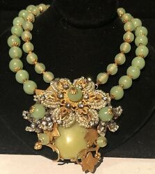 Miriam Haskell Necklace Rare Vintage Signed Gilt Hand Wired Green Glass Ornate