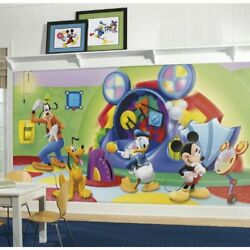 Roommates Jl1317m Mickey And Friends-clubhouse Capers Chair Rail Prepasted Mura...