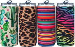 Slim Can Cooler Sleeves 4 Pack For White Claw 12 Oz Skinny Can Cooler Neoprene