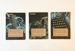 Urza's Land Set Of 3 Tower, Mine, Power Plant Altered Halloween Art Mtg Painted