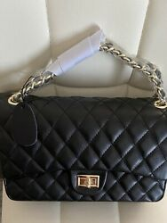 Quilted Sheepskin 100 Genuine Leather Double Flap Chain Strap Shoulder Bag