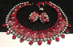 Larry Vrba Vintage Signed Pink Red Rhinestone Glass Necklace Earrings Set A2
