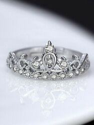 0.17ct Round Cut Moissanite 14k Gold Princess And Queen Crown Engagement Ring- Vvs