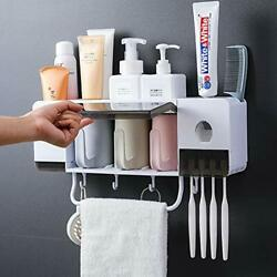 Automatic Toothpaste Dispenser Wall Mounted With Toothbrush Holder Multi-func...