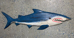 39andrdquo Shark Distressed Color Wood Hanging Wall Art Plaque Patio Home Decor