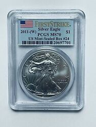 2011-w Silver Eagle Pcgs Ms70 First Strike From Us Mint Sealed Box 24