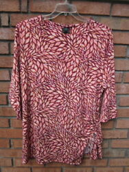New 64.50 Tags Nwt Jm Collection 3/4 Sleeve Silky Stretch Knit Top 2x 3x 4x