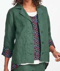 Flax Designs Linen Jacket Travel Caper 1g And 3g Nwt Forest