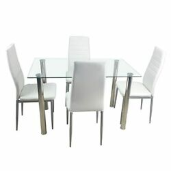 Tempered Glass Dining Table Set With 4-piece Chairs