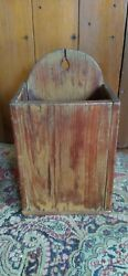 Antique Early Handmade Wood Candle Pipe Wall Box Old Mustard Paint 13.5 Sq.nail