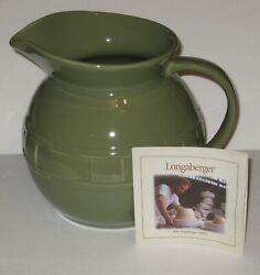 Longaberger Pottery Woven Traditions 2 Quart Ball Pitcher - Sage - New In Box