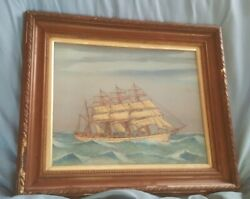Antique 19th Century Oil Painting On Board Sailing Ship Vessel Maritime Framed
