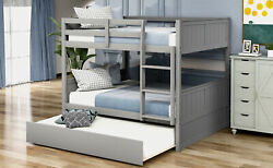 Full Over Full Bunk Bed With Twin Size Trundle Wood Bed Frame For Kids Bedroom