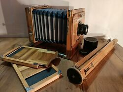 Antique Wooden Cameras Fkd 13 X 18 Ussr Russia Industar-51 4.5/210 1963 ГОД